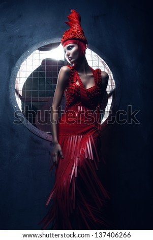 fashion woman in red and propeller