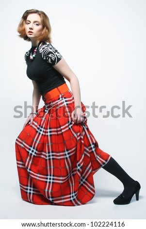 fashion woman in red skirt - stock photo