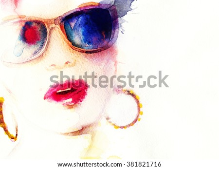 Fashion woman In sunglasses. watercolor illustration - stock photo