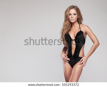 Fashion woman in swimsuit - stock photo