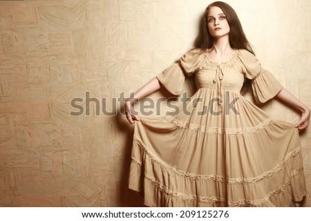 Fashion woman in vintage dress. Retro dress model elegant romantic style - stock photo