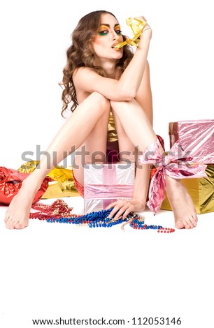 fashion woman model with beauty bright make-up posing in studio - stock photo