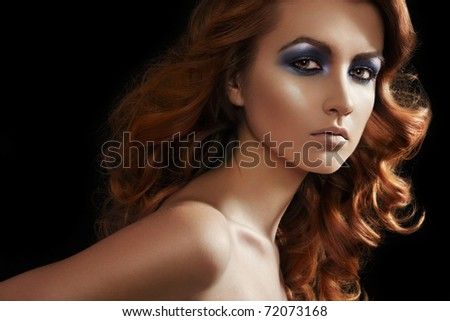 Fashion woman model with glitter evening make-up,  shiny long curly hair. Perfect night style - stock photo