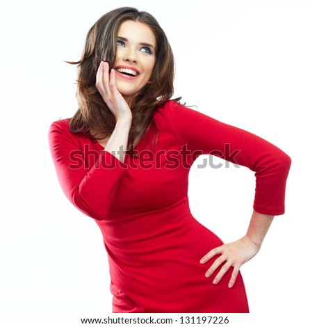 Fashion woman portrait. Female young model. Studio isolated , white background . Red dress . - stock photo
