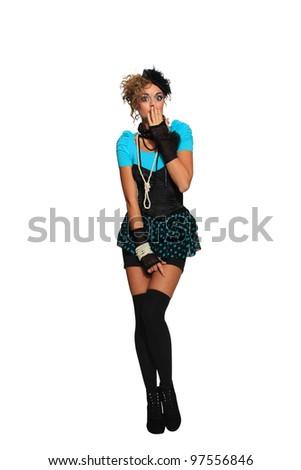 Fashion woman 80's style - stock photo
