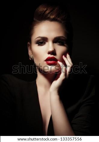 Fashion Woman. Stylish Makeup. - stock photo