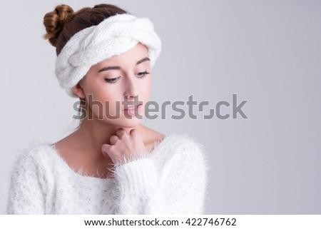 Fashion woman thinking about something - stock photo