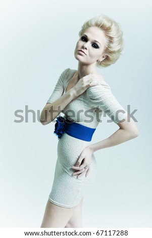 Fashion woman with a dress with belt - stock photo