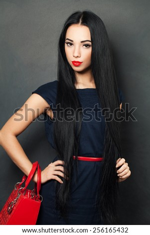 Fashion woman with beautiful healthy hair - stock photo