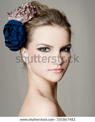 fashion woman with beautiful makeup - stock photo