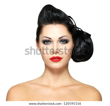 Fashion woman with beauty hairstyle and red lipstick -  isolated on white background - stock photo
