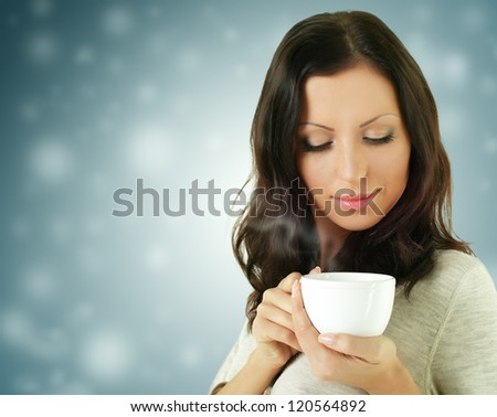 Fashion woman with coffee drink - stock photo