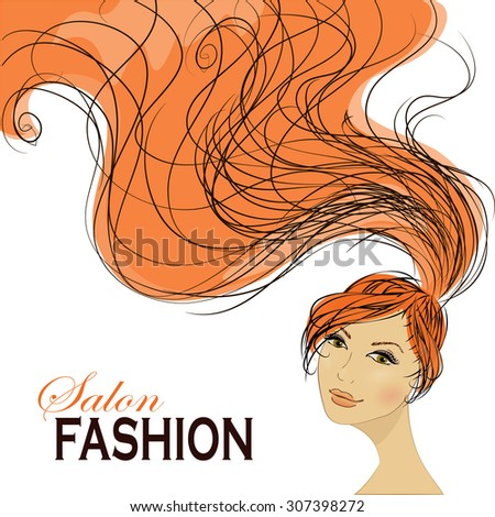 Fashion Woman with Long Hair.  Stylish Design for Beauty Salon Flyer or Banner. - stock photo