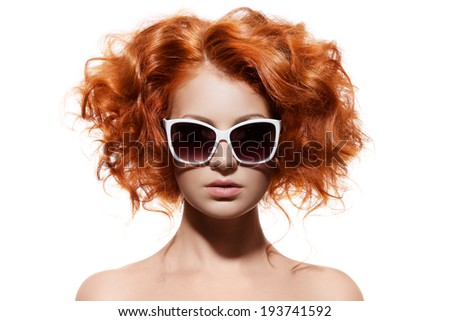 Fashion Woman With Sunglasses. Isolated - stock photo