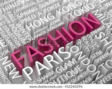 Fashion word cloud 3d concept illustration.