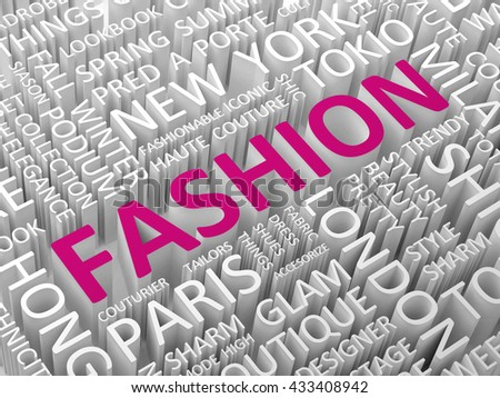 Fashion word with associated terms word cloud concept 3d illustration - stock photo