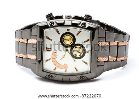 Fashion Wristwatch closeup on white background - stock photo