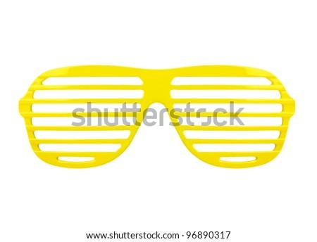 fashion yellow shades sunglasses isolated on white background - stock photo