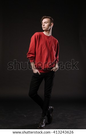 Fashion young model man portrait. Handsome Guy - stock photo
