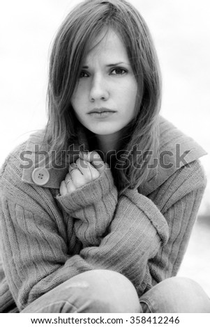 Fashionable,amazing,charming,dramatic,isolated,stressed,thoughtful,overworked,upset,worried portrait of beautiful girl looks attentively,thinks about problems,worries,fears. Black-and-white photo,nice - stock photo