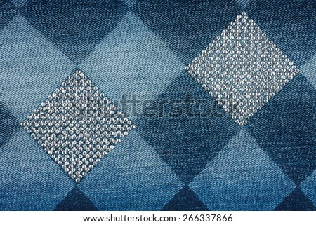 Fashionable background,  jeans in  rhinestones, texture - stock photo