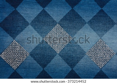 Fashionable background,  jeans  inlaid rhinestones, can be used as texture - stock photo