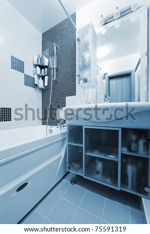 Fashionable bathroom in a modern apartment - stock photo