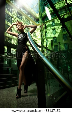 Fashionable blonde beauty - stock photo