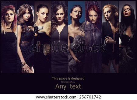 Fashionable collection of different women posing in fashion dresses. Style, clothes and beauty concept. - stock photo