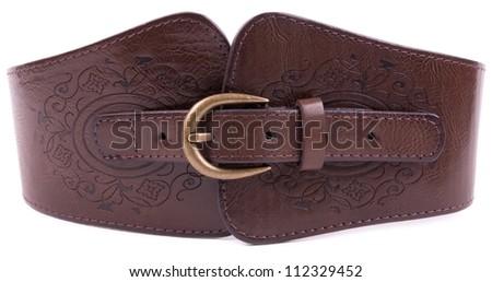 Fashionable colorful belt on white background - stock photo