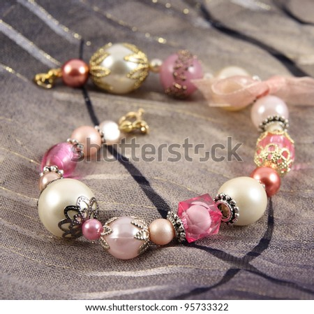 fashionable colorful bracelet � selective focus - stock photo