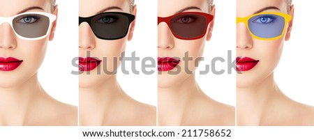 Fashionable eye wear collection. Young lovely Caucasian female wearing glamour colorful sunglasses with different frame form.   - stock photo
