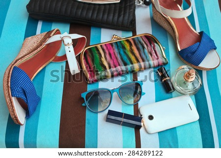 Fashionable female accessories. Summer concept - stock photo
