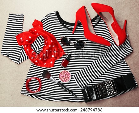 Fashionable female clothing and accessories  - stock photo