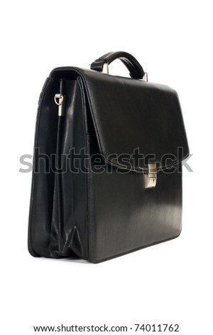 Fashionable leather briefcase on a white background