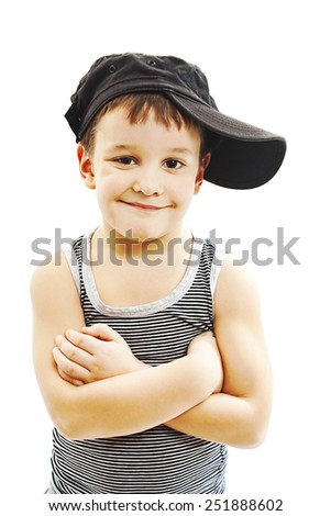 Fashionable little boy.Hip-Hop Style. fashion children.handsome blond kid. Pose Boy in Tracker Hat. Young Rapper. Funny Child in Cap. 5 years old.  Isolated on a white background  - stock photo