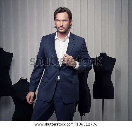 Fashionable Man in Suit - stock photo