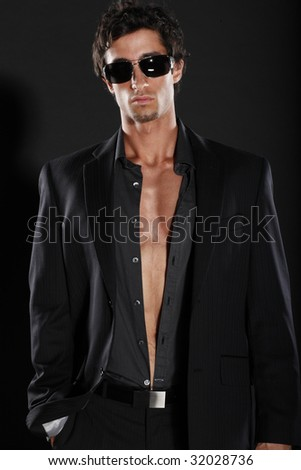 Fashionable Man in Suit Jacket - stock photo