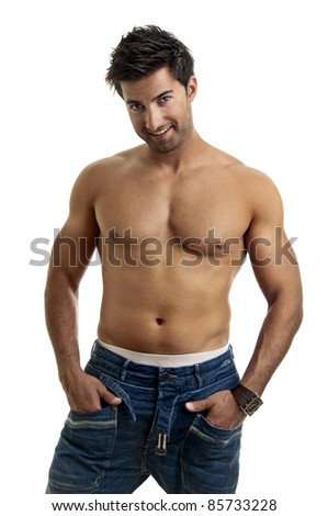 Fashionable muscular young man isolated in white