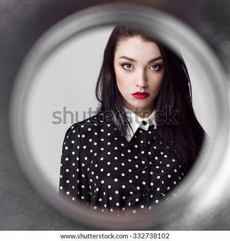 Fashionable portrait of beautiful girl close-up, red lips - stock photo