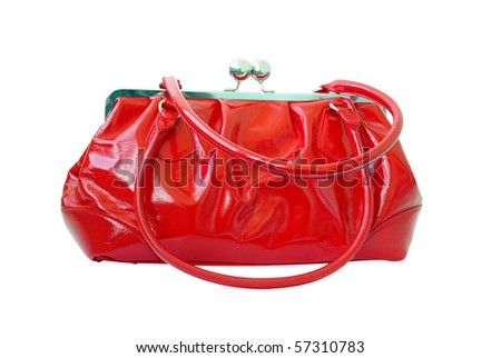 Fashionable red woman bag isolated on white background - stock photo