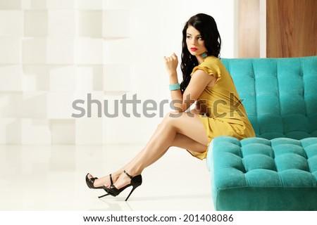 Fashionable sexy woman posing - stock photo