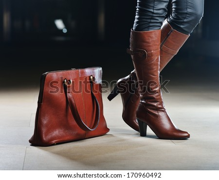 Fashionable shoe and bags leather products - stock photo