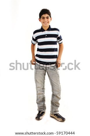 Fashionable teenager boy - stock photo