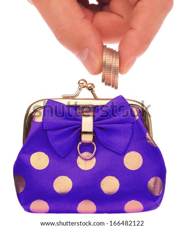 Fashionable wallet and coin in man hand over white background - stock photo