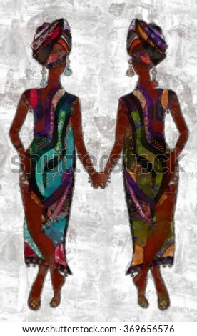 fashionable woman in the style of watercolor - stock photo