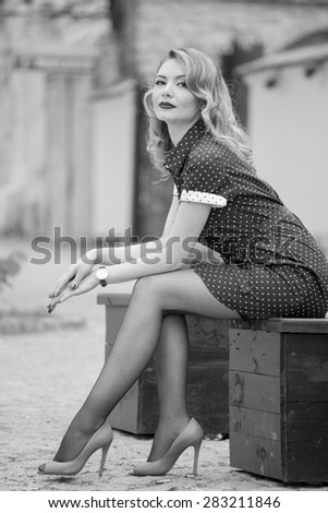 Fashionable woman on the streets. Summer photo - stock photo