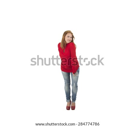 Fashionable woman posing against a white background - stock photo