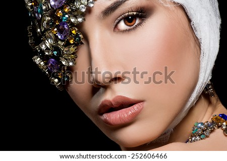 fashionable woman with jewelry