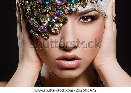 fashionable woman with jewelry - stock photo